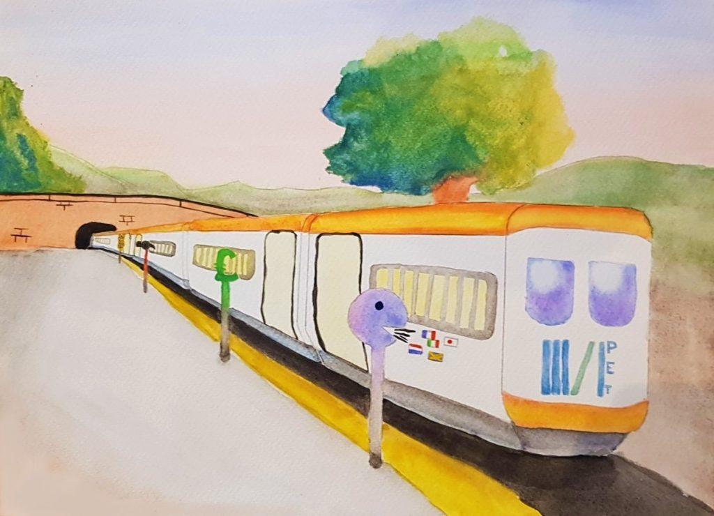 Femi. The Right Track. 2020. Watercolour on paper