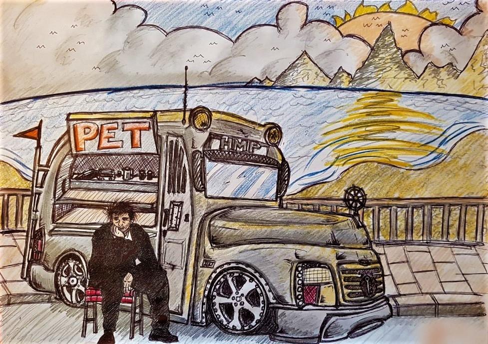 Moss. Prison Bus. 2019. Pencil on paper.